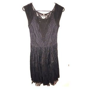 Free People Sheer Lace Black Ruffle Dress XS